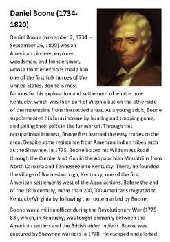 Daniel Boone Handout with activities