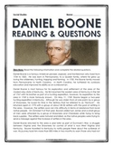 Daniel Boone - Reading and Questions with Key (Westward Expansion)