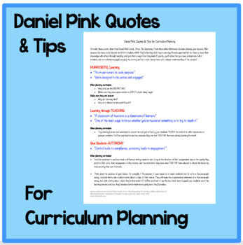 Daniel Pink Quotes & Tips for Curriculum Planning