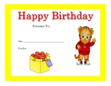 Daniel Tiger Birthday Certificates (Includes 4 Certificates)
