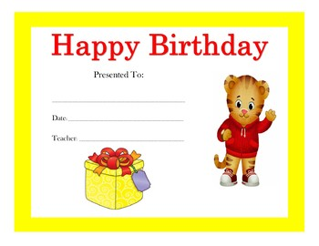 Daniel Tiger Birthday Certificates (Includes 4 Certificates)