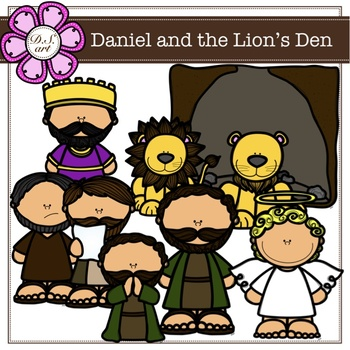 Daniel and the Lion's Den Digital Clipart (color and black&white)