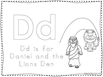 Daniel and the Lions Den Color and Trace Worksheet. Preschool-Kindergarten Bible