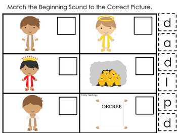 Daniel and the Lions Den Match Beginning Sounds Printable Game. Christian Pres
