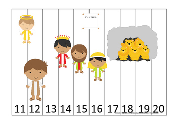 Daniel and the Lions Den Number Sequence Puzzle 11-20 Printable Christian Game.
