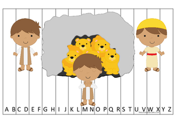 Daniel and the Lions Den printable Alphabet Sequence Puzzle.  Bible Stories.