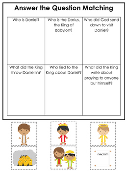 Daniel and the Lions Den printable Answer the Question game.  Bible Stories.
