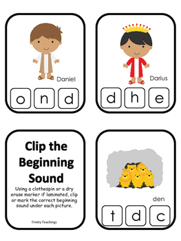 Daniel and the Lions Den printable Letter Sounds Clip it Cards.  Bible Stories.
