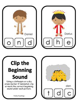 Daniel and the Lions Den printable Letter Sounds Clip it C