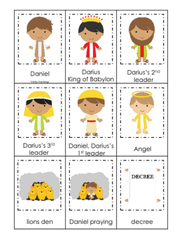 Daniel and the Lions Den printable 3 Part Matching curriculum game.  Christian