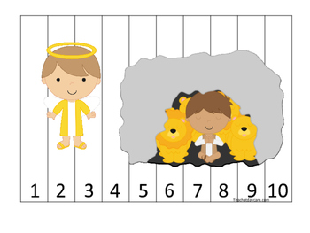 Daniel and the Lions Den printable Number Sequence Puzzle 1-10.  Bible Stories.