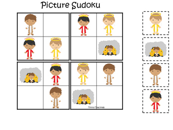 Daniel and the Lions Den printable Picture Sudoku game.  B