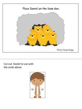 Daniel and the Lions Den printable Positional Cards.  Preschool Bible Stories.