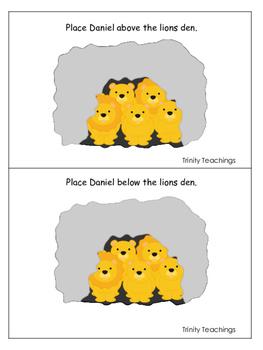 Daniel and the Lions Den printable Positional Cards.  Preschool Bible Stories.