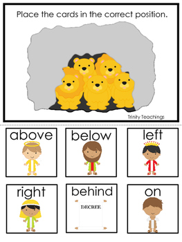 Daniel and the Lions Den printable Positional Game.  Presc