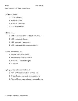 Daniel el Detective Multiple Choice Quiz for Chapters 1-3