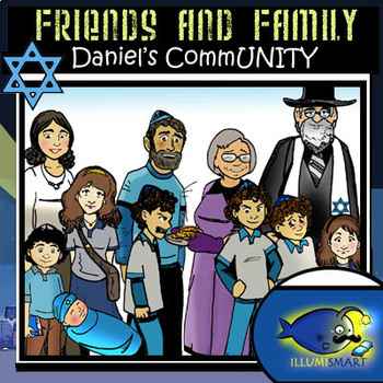 Daniel's CommUNITY- Jewish Friends and Family 22 Pc. Clip-Art Set BW/Color