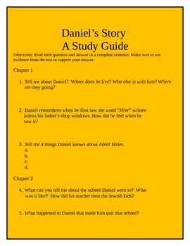 Daniel's Story Chapter Questions/Study Guide