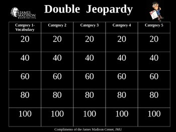 Daniels Story Double Jeopardy Review Game