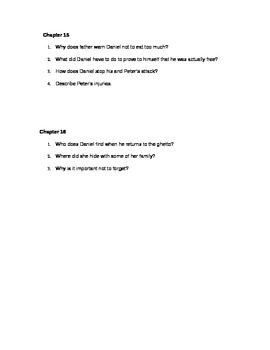 Daniel's Story by: Carol Matas Guided Reading Questions