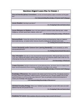Danielson Lesson Plan Template Teaching Resources Teachers Pay - Danielson lesson plan template