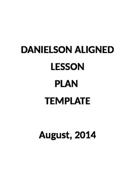Danielson Aligned Lesson Plan template 2016-2017 updated