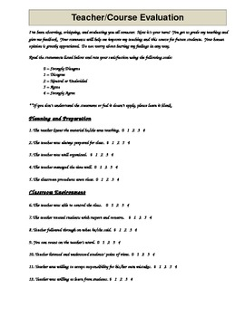 Danielson Aligned Teacher Evaluation by Students