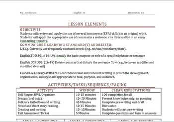 Danielson Framework for Teaching Aligned with Common Core Standards Lesson Plan