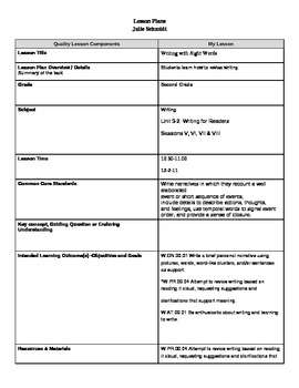 Danielson English/Language Arts Lesson Plan