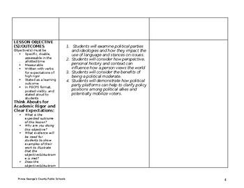 Danielson Style Lesson Plan: Political Participation, Parties, Views & Platforms