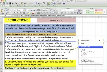 Danielson Observation Template for Taking and Sorting Principal Observations