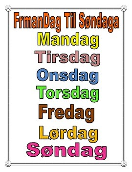 Danish Days of The Week Poster