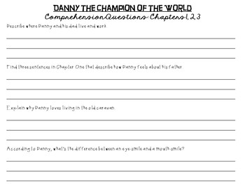 Danny- Champion of the World by Roald Dahl: A Complete Novel Study!
