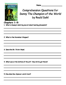 Danny Champion of the World by Roald Dahl Comprehension Packet