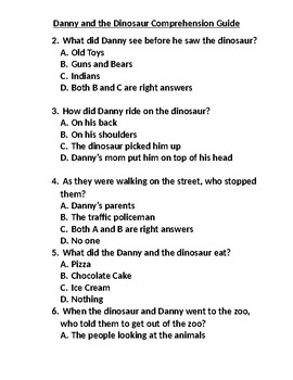 Danny and the Dinosaur Reading Comprehension Guide With Answers