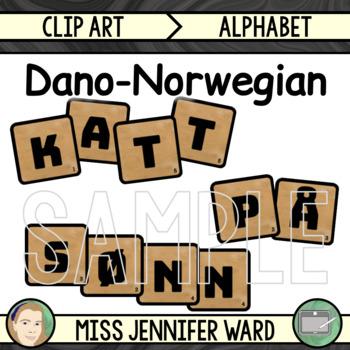 Dano-Norwegian Alphabet Tiles Clip Art
