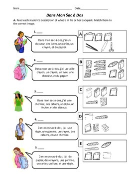 Dans Mon Sac-a-Dos - French School Supplies Worksheet | TpT