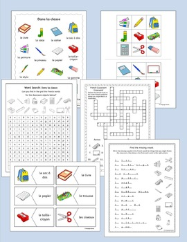 French classroom - Dans la classe - school vocabulary activities, puzzles, games