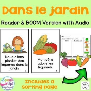 Dans le jardin French Garden Reader, Sorting page {les légumes} + BOOM™ w Audio