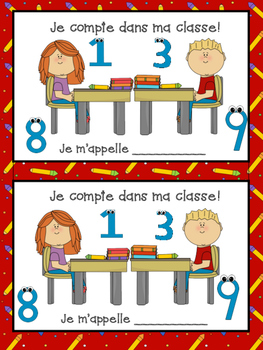 French school vocabulary and counting numbers- Je compte dans ma salle de classe