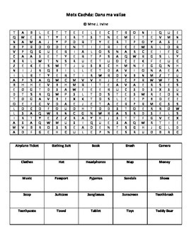Dans ma valise vocabulary wordsearch review