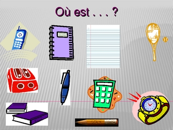 Fournitures scolaires Dans mon sac à dos (Bookbag in French) power point 1