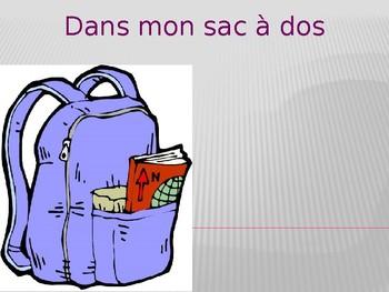 Fournitures scolaires Dans mon sac à dos (Bookbag in Frenc