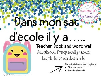 Dans mon sac d'école BUNDLE I French back to school vocabulary bundle