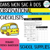 Dans mon sac d'école vocabulary observations checklist I French observations