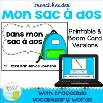 French School Supply Reader {Dans mon sac à dos}  & Cut & Paste School Objects