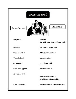 Dans un café, dialogue in French for French 1