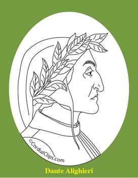 Dante Alighieri Clip Art, Coloring Page, or Mini-Poster