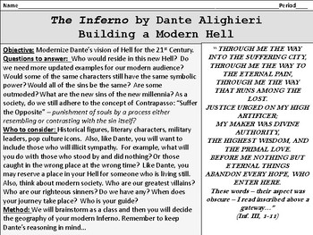 Dante's Inferno Modern Connections Activity