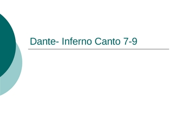Dante's Inferno Canto 7-9 Powerpoint